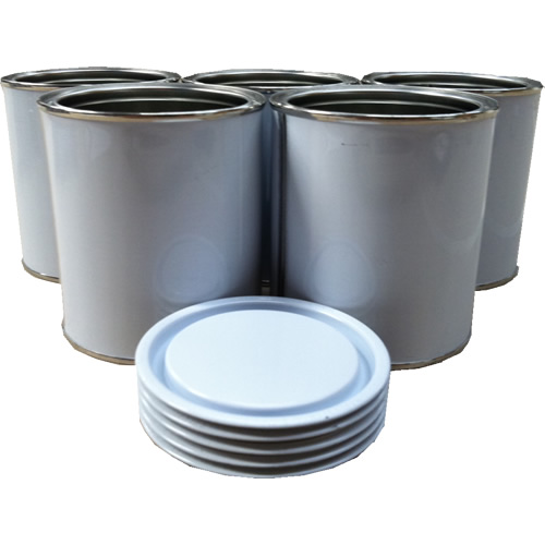 1 Litre Metal Lever Lid Tin White/Plain With White Metal Lid (Empty)