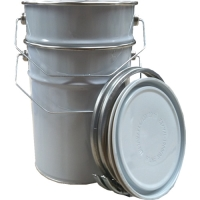 5kg / 5 Litre Metal Open Top Pail Tin White/Plain With Metal Lid (Empty)