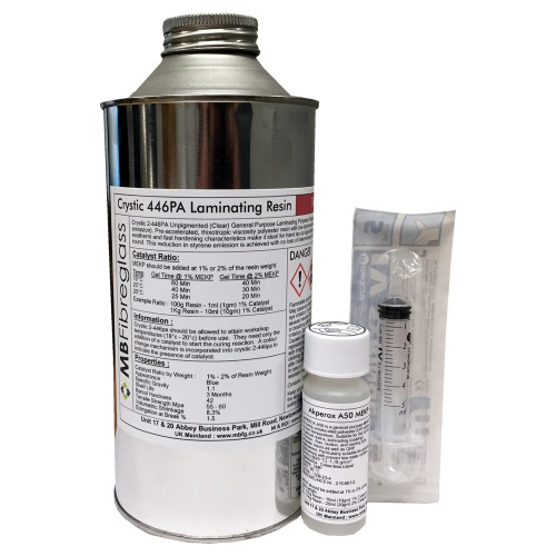 Crystic 2-446 PA Unpigmented (Clear) Laminating Resin - 1kg - Includes Catalyst & Syringe