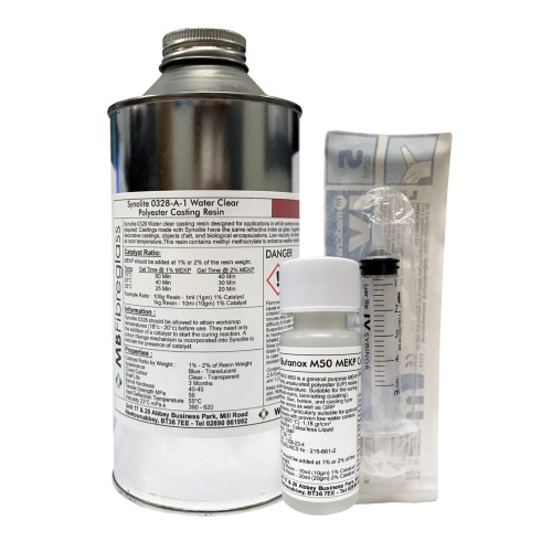 Synolite 0328-A-1 Clear Polyester Casting Resin - 1kg - Includes Catalyst & Syringe