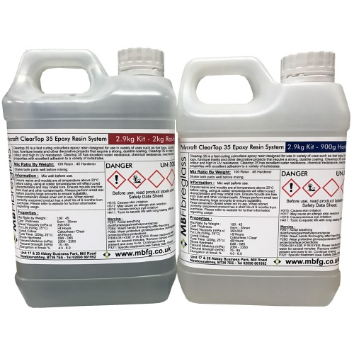 Polycraft ClearTop 35 Epoxy Water Clear Resin System (Bar / Counter / Table  Top) Suitable For Up To 35mm Casting Depth