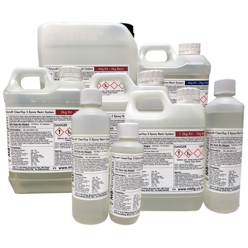 Polycraft ClearTop 5 Epoxy Water Clear Resin System (Bar / Counter / Table Top) Suitable For Up To 5mm Casting Depth
